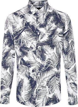 BOSS Camisa slim fit estampada - Azul