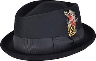 Mens Black Vintage 100/% Wool Felt Crushable Gambler Cowboy Hat Curved Wide Brim