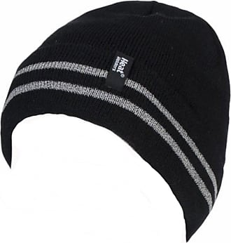 Heat Holders Mens Genuine Heat Holders 3.6 Tog Turnover Cuff Heat Weaver Winter Warm Thermal Hat (High Viz Black)