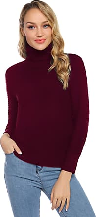 Aibrou Women Pullover High Neck Thick Sweater Ladies Vintage Solid Soft Warm Stretchy Ribbed Long Sleeve Chunky Sweater Jumper Knitwear Top(Wine Red S)