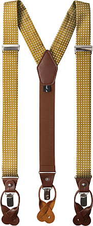 Jacob Alexander Mens Polka Dot Y-Back Suspenders Braces Convertible Leather Ends and Clips - Gold