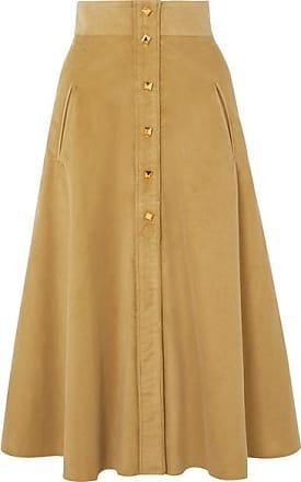 Anna Mason Liv Cotton-corduroy Midi Skirt - Yellow