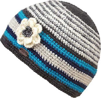 KuSan 100% Wool Lurex Crochet Beanie with Removable Flower (PK1721) (Blue)