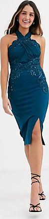 Lipsy Vestito midi decorato con collo incrociato verde-azzurro-Blu