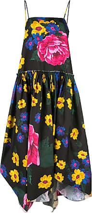 Marques Almeida flared asymmetrical dress with giant flower - Multicolour