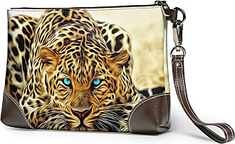 GLGFashion Womens Leather Wristlet Clutch Wallet Leopard Tiger Painting Storage Purse With Strap Zipper Pouch