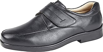 Roamers Roamer Mens Black Supersoft Leather Touch Fastening Mudguard Casual Shoes - Black Leather, Mens UK 12/EU 46