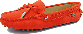 MGM-Joymod Ladies Womens Casual Slip-on Knot Orange Red Suede Leather Walking Driving Loafers Flats Moccasins Hiking Shoes 6.5 M UK