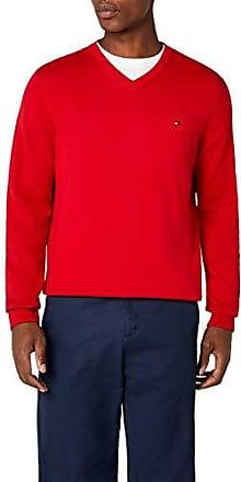 Tommy Hilfiger pacific v neck maglione, rosso (apple red 611), m (50) uomo