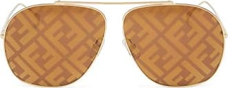 Fendi Ff-print Aviator Metal Sunglasses - Womens - Brown Gold