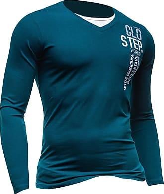 Jeansian Mens Dress Casual Slim Fit Long Sleeve T-Shirts Tee Shirts Tops D524 Green M