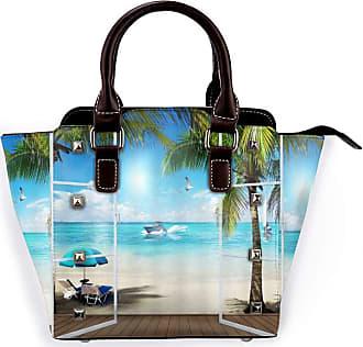 Browncin Ocean Landscape Hawaiian Beach Vacation Coconut Tree Detachable Fashion Trend Ladies Handbag Shoulder Bag Messenger Bags
