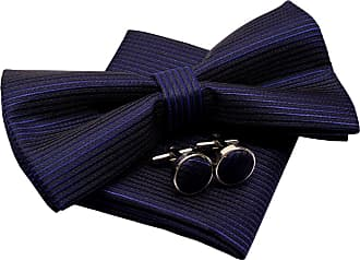 Retreez Stripe Textured Woven Microfiber Pre-tied Bow Tie (Width: 5) with matching Pocket Square and Cufflinks, Gift Box Set as a Christmas Gift, Birthday Gif
