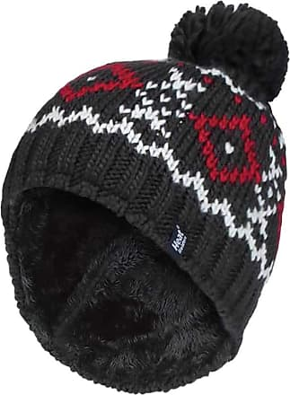 Heat Holders Mens Chunky Knit Fleece Lined Thermal Winter Warm Beanie Bobble Hat with Pom Pom (One Size, Charcoal/Red)