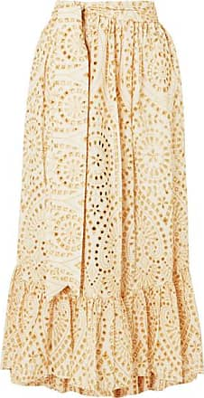 03b65bd268 Lisa Marie Fernandez Nicole Embroidered Broderie Anglaise Cotton Maxi Skirt  - Neutral