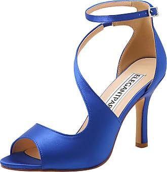 Elegantpark HP1565 Wedding Sandals for Women Peep Toe Wedding Shoes High Heels Ankle Strap Buckle Satin Evening Bridal Party Shoes Blue UK 9(EU 42)