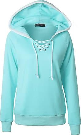 NPRADLA Women 2020 Winter Warm Hoodie Casual V-Neck Hooded Collar Plus Size Jacket Light Blue