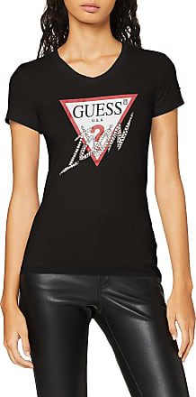 Guess Womens SS VN ICON TEE T-Shirt, Nero, L