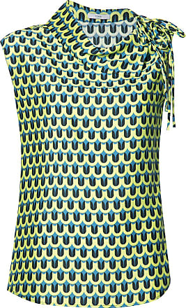 Tome Geometric Print Asymmetric Collared blouse - Green