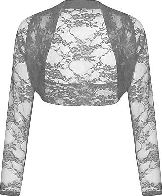 paramount Long Sleeve Cropped Lace Bolero Shrug ((XX/L) 20-22, Charcoal Grey)
