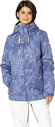 Roxy Snow Juniors Valley Hoodie Snow Jacket, Crown Blue_Washed Floral, S