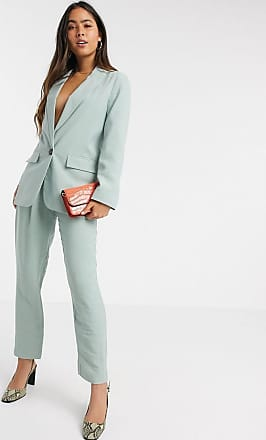 Warehouse elastic back soft peg co-ord trousers in sage-Green
