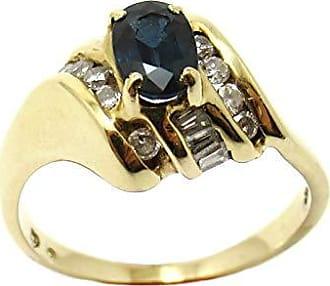 Boreale Joias Anel Solitário Ouro 14k 750 Safira Natural Com Diamantes