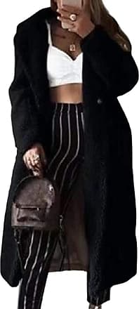 VITryst Women Wool Lapel Open Front Long Cardigan Coat Warm Winter Outwear Jackets,Black,3X-Large