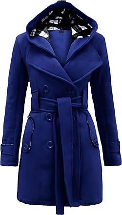 Noroze Womens Long Sleeve Belted Button Fleece Coat (L(12), Royal Blue)