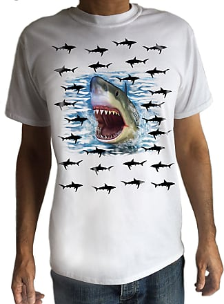 Irony Mens White T-Shirt with Sharks Everywhere Print - Fashion/Graphic C17-7 (Medium)