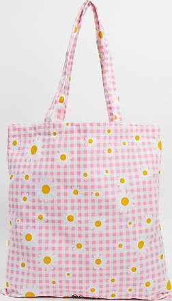 Monki Maja - Maxi borsa in cotone organico con margherite rosa