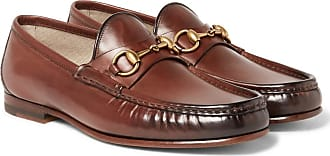d31ac957ab4 Gucci Roos Horsebit Burnished-leather Loafers - Dark brown