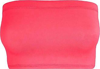 Janisramone Womens Ladies New Plain Boob Tube Strapless Bandeau Stretch Soft Elastic Vest Bra Crop Top Neon Pink