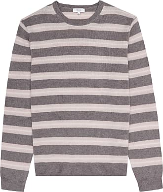 6804385b8d6 Reiss Cowdry - Striped Crew Neck Jumper in Taupe, Mens, Size XXL