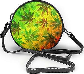 Turfed Marijuana Leaves Rasta Print Fashion Round PU Crossbody Handbag Round Shoulder Bag For Women Girls