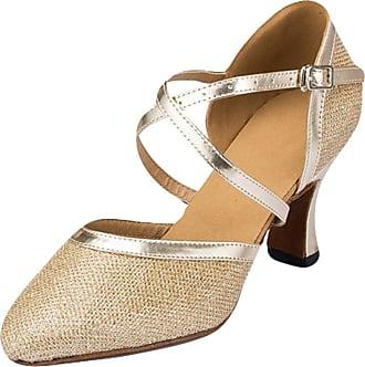 Insun Women Sparkly Dance Shoes Latin Ballroom Dancing Wedding Shoes Gold 8cm Heel 2.5 UK