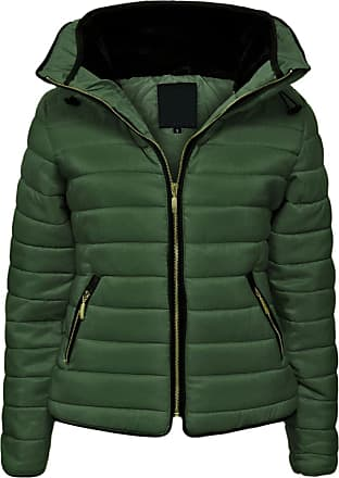 Parsa Fashions Malaika Ladies Quilted Padded Puffer Bubble Fur Collar Warm Thick Womens Jacket Coat - Avaiable in PLUS SIZES (Extra Small to XXL) (XX-Large, Khaki)