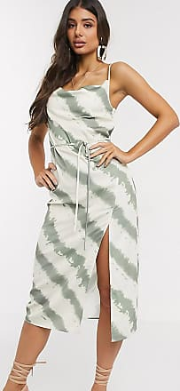 4th + Reckless Tall exclusive kick cowl front midi dress in tie dye print-Multi