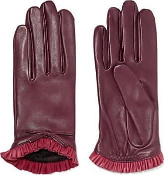 6416a59db0e509 Agnelle Josie Handschuhe Aus Leder Mit Rüschen Und Schleife - Bordeaux