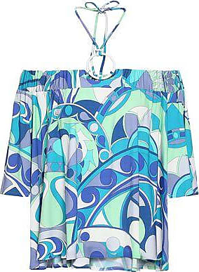 Emilio Pucci Emilio Pucci Woman Off-the-shoulder Printed Stretch-jersey Halterneck Top Turquoise Size 38