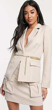 4th & Reckless blazer with gold belted chain in camel-Beige