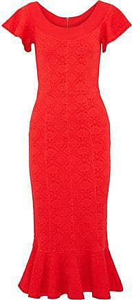 Opening Ceremony Opening Ceremony Woman Fluted Matelassé Midi Dress Red Size L