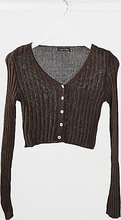 I Saw It First cropped cardigan in brown