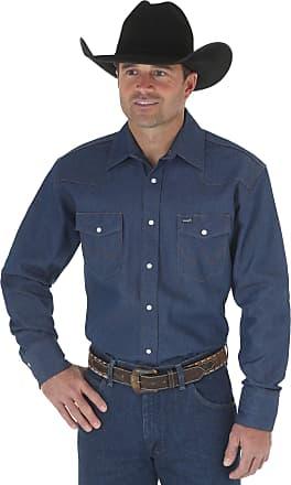 Wrangler Mens Western Long Sleeve Snap Firm Finish Work Shirt - Navy - XXX-Large