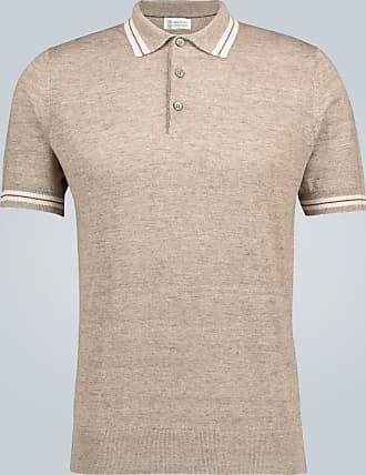 Brunello Cucinelli Poloshirt aus Leinen und Baumwolle