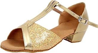 Insun Girls 1.4 Sequined Latin Ballroom Dance Shoes Gold 3 Rubber Sole 12.5 UK Child