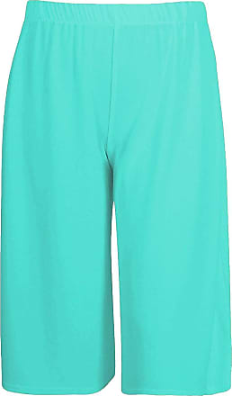Chocolate Pickle New Womens Plain Casual Wide Leg Culottes Short 3/4 Length Trousers Pant Mint 20 to 22