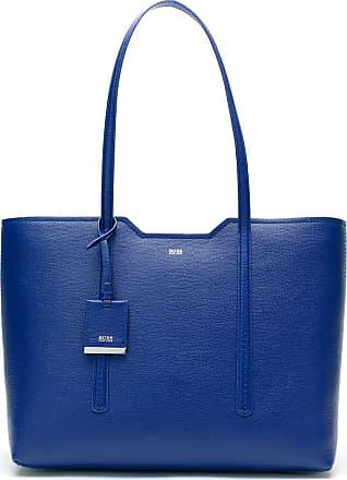 BOSS Bolsa de couro com logo - Azul