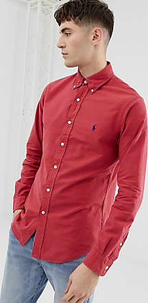 Polo Ralph Lauren slim fit garment dyed shirt with button down collar in red e12fc08cdf2bb