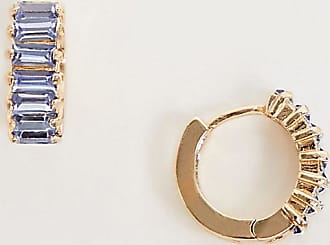 Reclaimed Vintage inspired gold plate huggie hoops with blue stone
